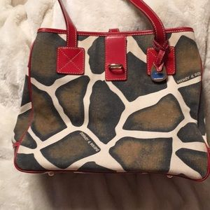 Dooney & Bourke Giraffe Print/Red Leather Bag, EUC